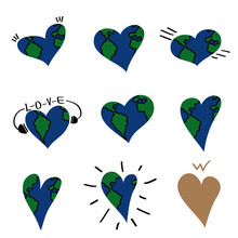 Earth Heart Love Map Logo Icon Sign Doodle Symbol Emblem Hand Drawn Sketch Modern Design Cartoon Cute Children's Style Fashion Print Clothes Apparel Greeting Invitation Card Cover Flyer Poster Banner