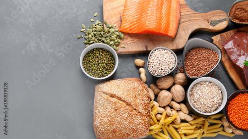Billede på lærred Healthy products highest in copper. Food containing Cu.