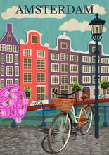 Amsterdam City Background.Vector Illustration.