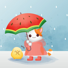 The Character Of The Cute Cat Wears The Red Raincoat And Boots And Holding An Umbrella With A Chick Watercolor Style. Premium Vector
