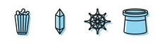 Set Line Spider Web, Popcorn In Box, Magic Stone And Magician Hat Icon. Vector.