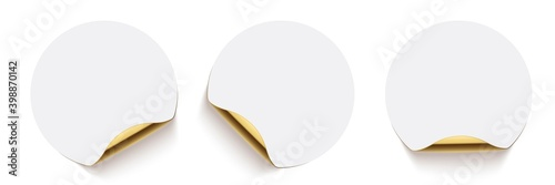 Cuadros en Lienzo White glued round stickers with golden back side curling set