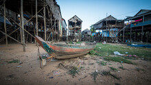Floating Village Of Komprongpok At Tonle Sap Lake In Cambodia