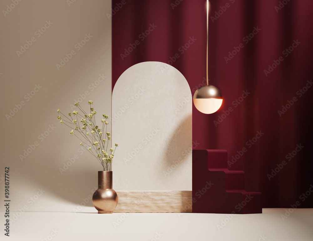 Fototapeta 3D podium display, beige background with burgundy curtain and flowers. Wood pedestal stand with copy spa ce. Beauty, cosmetic product promotion Minimal Studio scene art deco abstract 3D render mockup