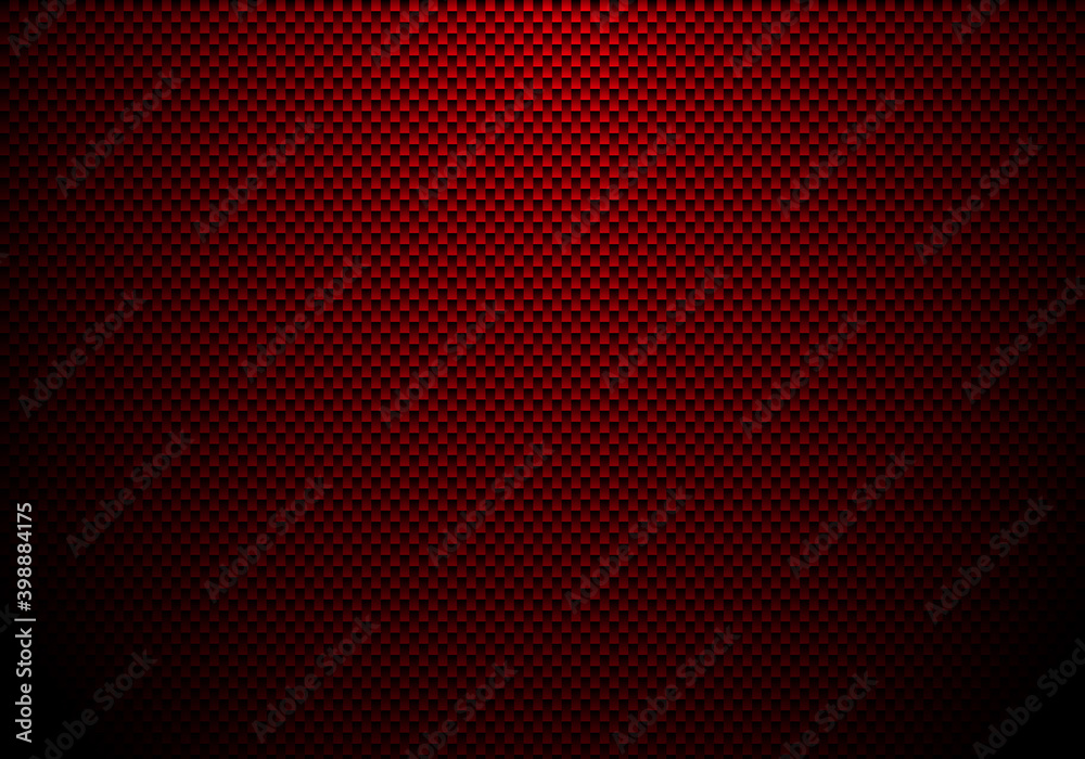 Fototapeta Red carbon fiber background and texture with lighting. Material wallpaper for car tuning or service.