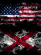 United States of America, America, US, USA, American vs Alabama, Alabamian smoky mystic flags placed side by side. Thick colored silky abstract smoke flags