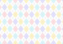 【背景素材】アーガイルチェック柄11 4色(水色&薄紫&ピンク&黄色)