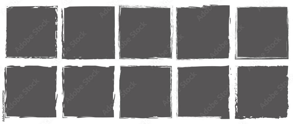 Fototapeta set of gray brush painted ink stamp banner on transparent background