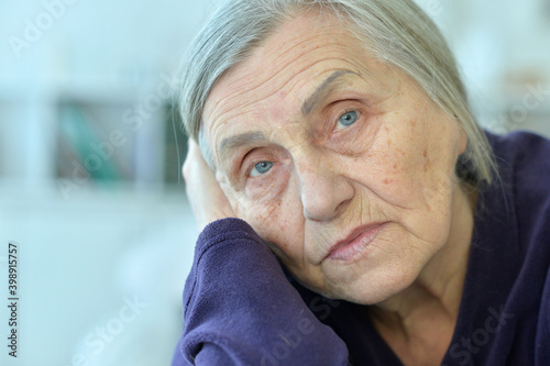 Fototapeta Close up portrait of tired senior woman obraz