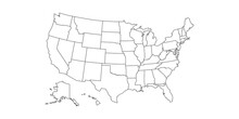 Linear Map Of USA. United States Of America Concept Map. State Maps. Vector Illustration