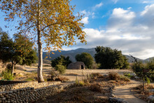 Traditional Chumash Native American Indian Home Made Of Twigs Surrounded By The Santa Monica Mountains California In Autumn Fall Landscape