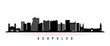 Acapulco skyline horizontal banner. Black and white silhouette of Acapulco City, Mexico. Vector template for your design.