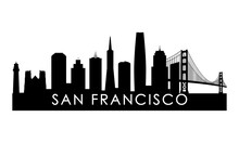 San Francisco Skyline Silhouette. Black San Francisco City Design Isolated On White Background.