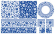 Set of floral design elements. Seamless patterns, seamless borders, circle frame. Beautiful for any plain and chic elegance designs. Vector illustration.