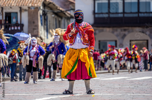 Peru, Cuzco, traditional dances for the Easter Parade on the Plaza de Armas Wallpaper Mural