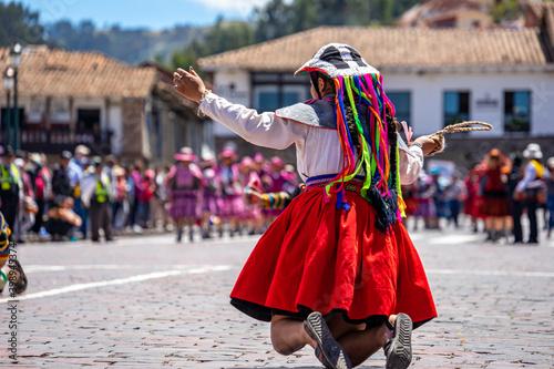 Foto Peru, Cuzco, traditional dances for the Easter Parade on the Plaza de Armas