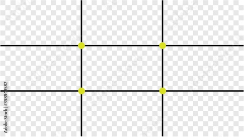 Canvas Composition Proportions guidelines set, attention spot of rule of thirds template in 16 by 9 ratio monitor display