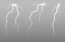 The Power Of Lightning And Shock Discharge, Thunder, Radiance. Thunder Bolts Isolated.