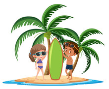 Kids On The Tropical Island Posing Beside Surf Board Cartoon Character On White Background