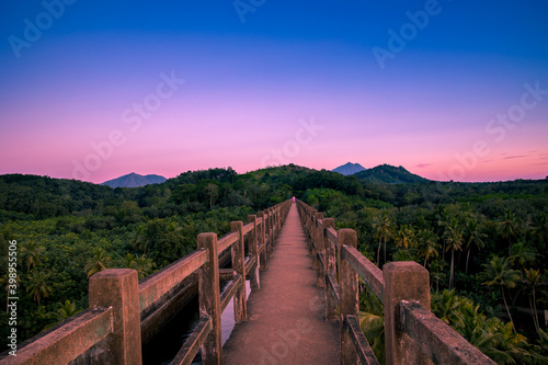 Foto Greenery Landscapes view from the top of Mathur Aqueduct, Kanyakumari, Tamil Nadu