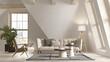 canvas print picture - White color attic interior room 3d illustration