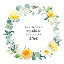 Yellow Rose, Peony, White Lilac, Tulip, Spring Garden Flowers, Mint Eucalyptus