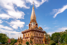 Beautiful Pagoda In Phuket, Thailand - 9 December 2020 , The Phra Mahathat Chedi (Great Relic Stupa) Wat Chalong Or Wat Chaithararam Is Famous Tourist Destination In Phuket Thailand