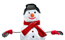 Real Snowman Made From Snow Isolated On White Background