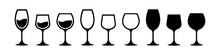 Different Shapes Of Wine Glasses. Wine Glasses Icon Set. Glasses Collection. Alcocol Symbol. Drinking Alcohol Concept. Vector Graphic.