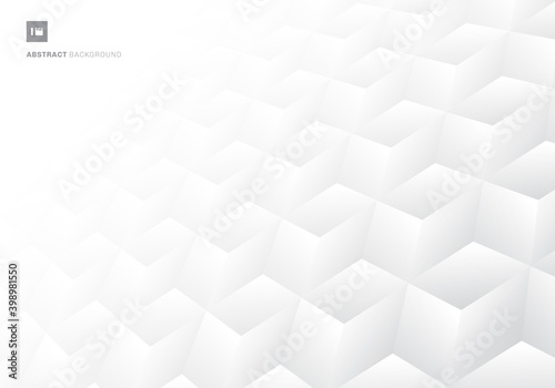 Fotografie, Obraz 3D realistic geometric symmetry white and gray gradient color cubes pattern perspective background and texture