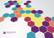 Abstract Colorful Hexagons Shape Minimal Pattern Perspective On White Background.