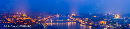 Fotografie, Obraz Panorama of Budapest at dusk overlooking Chain bridge and Parliament