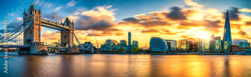 Fototapety, obrazy: Tower Bridge sunset panorama in London. England