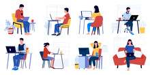 Business Characters Working. Cartoon Men And Women Sitting In Office And At Home With Laptop And Working. Vector Set Of Office People In Workspace