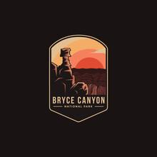 Emblem Patch Logo Illustration Of Bryce Canyon National Park On Dark Background