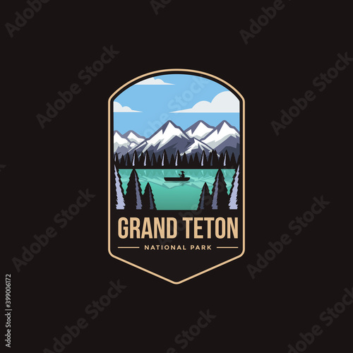 Fototapeta Emblem patch logo illustration of Grand Teton National Park on dark background