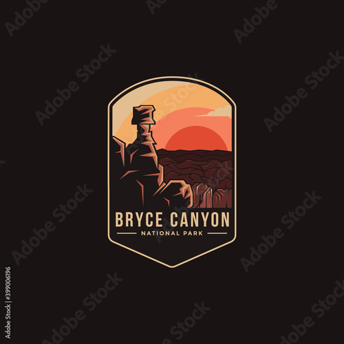 Canvas Emblem patch logo illustration of Bryce Canyon National Park on dark background