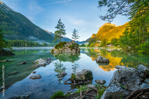 Fototapeta Colorful morning view of Hintersee lake in Bavarian Alps on the Austrian border, Germany, Europe obraz