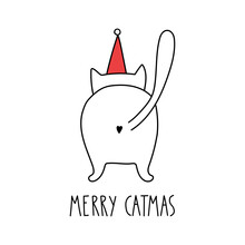 Funny Merry Christmas Cat With Lettering - Merry Catmas. Doodle Cartoon Style. Vector Christmas Illustration. Holiday Hand Drawn Image. Holiday Poster With  Cartoon Character.