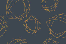 Seamless Abstract Background Pattern Made With Messy Lines Forming Circular Shapes. Simple, Modern Vector Art In Yellow And Grey Colors,