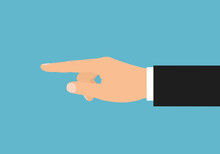 Flat Design Illustration Of A Manager's Hand Pointing A Finger Or Pushing A Button. Isolated On Green Background, Vector