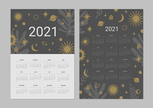 Calendar 2021. Set Of 2 Printable Creative Templates With Stars And Planets. Night Sky Backgrounds.