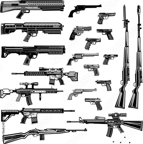 Photographie Modern  Guns: automatic weapon, machine gun and pistol
