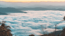 Sunrise Time With Sea Of Fog And Clouds With Mountain Hill At Sri Nan National Park Doi Samer Dao Nan Province Thailand, Asia.