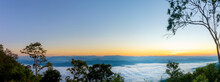 Panorama Photo Of Sunrise Time With Sea Of Fog And Clouds With Mountain Hill At Sri Nan National Park Doi Samer Dao Nan Province Thailand, Asia.