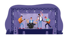 Rock Music Band On Open Stage Isolated Musicians Playing On Guitars, Drum Set And Singer With Microphone. Vector Music Players Perform On Electric String Instruments, Man Sing In Mic, Jazz Group Party