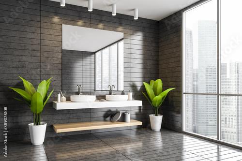Fototapeta Gray tiled bathroom corner with double sink obraz