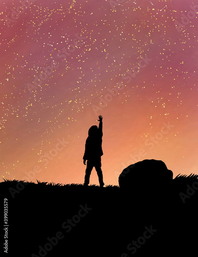 Tela beautiful silhouette of man  with stars  on moon light .