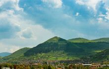 Bosnian Pyramid Of The Sun. Landscape With Forested Ancient Pyramid Near The Visoko City, BIH, Bosnia And Herzegovina. Remains Of Mysterious Old Civilization.