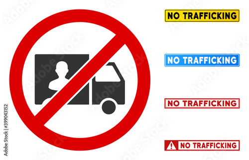 Canvas Print No Trafficking Transport sign with texts in rectangle frames
